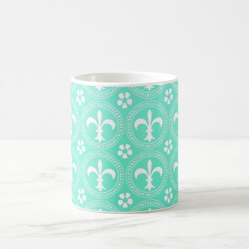 Mint Green Turquoise And White Fleu De Lis Pattern Classic White Coffee Mug