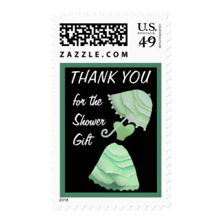 Mint Green Umbrella & Gown Thank You Shower Gift Stamps