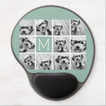 "Mint Green Unique Photo Collage Custom Monogram Gel Mouse Pad<br><div class=""desc"">Use up to 11 square Instagram or selfie phone photos to create a unique and personal gift. Or you can keep the hipster puppy and make a trendy keepsake. If you need to adjust the pictures,  click on the customize tool to make changes.</div>"