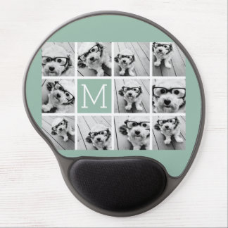 Mint Green Unique Photo Collage Custom Monogram Gel Mouse Pad