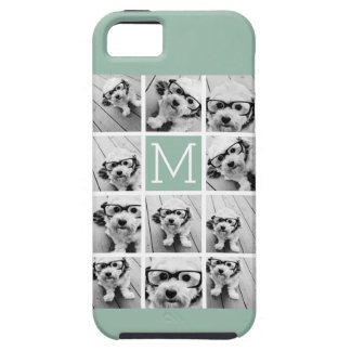 Mint Green Unique Photo Collage Custom Monogram iPhone SE/5/5s Case