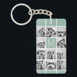 """Mint Green Unique Photo Collage Custom Monogram Keychain<br><div class=""""desc"""">Use up to 11 square Instagram or selfie phone photos to create a unique and personal gift. Or you can keep the hipster puppy and make a trendy keepsake. If you need to adjust the pictures,  click on the customize tool to make changes.</div>"""