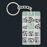 "Mint Green Unique Photo Collage Custom Monogram Keychain<br><div class=""desc"">Use up to 11 square Instagram or selfie phone photos to create a unique and personal gift. Or you can keep the hipster puppy and make a trendy keepsake. If you need to adjust the pictures,  click on the customize tool to make changes.</div>"