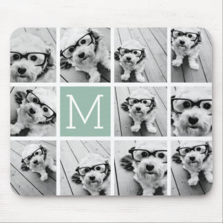 Mint Green Unique Photo Collage Custom Monogram Mouse Pad