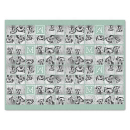 Mint Green Unique Photo Collage Custom Monogram Tissue Paper
