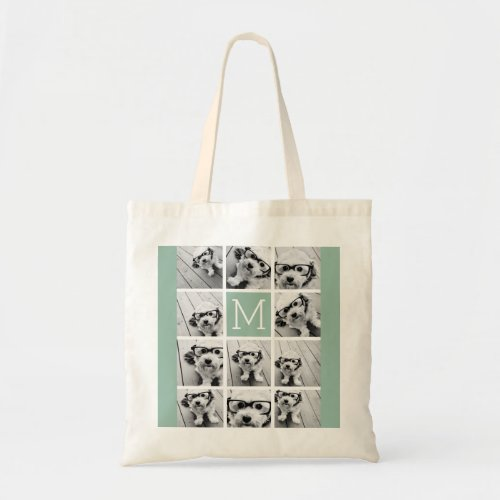 Mint Green Unique Photo Collage Custom Monogram Tote Bag