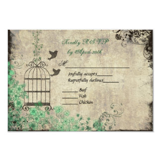 Mint Green Vintage Bird Cage Wedding R.S.V.P. Card
