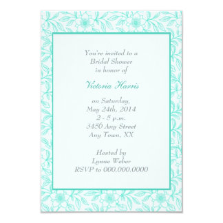 "Mint Green Vintage Floral Bridal Shower Invitation 3.5"" X 5"" Invitation Card"
