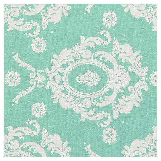 mint green vintage floral damask pattern fabric zazzle