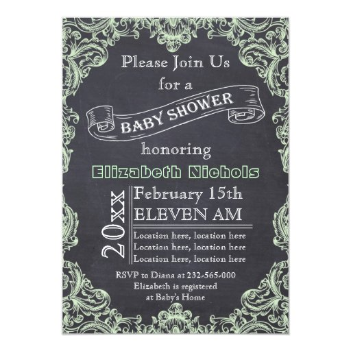 Mint green vintage frame & chalkboard baby shower 5x7 paper invitation card