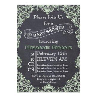 Mint green vintage frame & chalkboard baby shower card