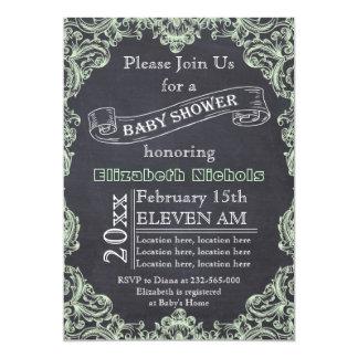 "Mint green vintage frame & chalkboard baby shower 5"" x 7"" invitation card"