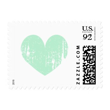 Valentines Themed Mint green vintage heart 91 cent wedding stamps