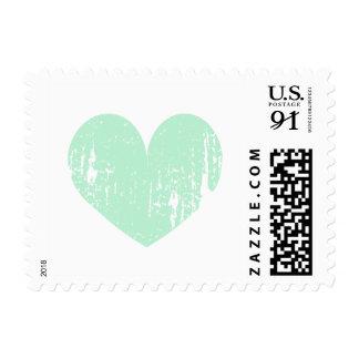 Mint green vintage heart 91 cent wedding stamps