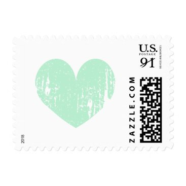 Beach Themed Mint green vintage heart 91 cent wedding stamps