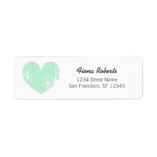 Mint green vintage heart Return Address Labels