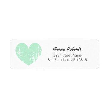 Valentines Themed Mint green vintage heart Return Address Labels