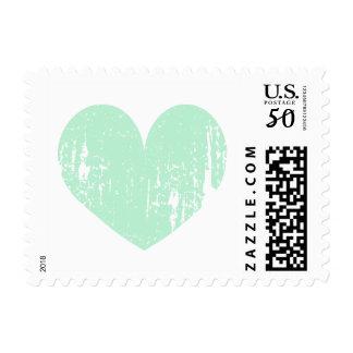 Mint green vintage heart wedding stamps