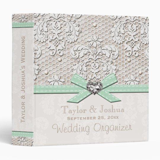 Mint Green Vintage Lace Pearls Wedding Organizer Binder
