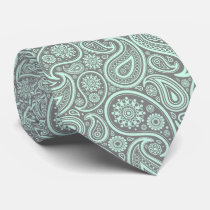 Mint-Green Vintage Paisley Custom Gray Background Neck Tie