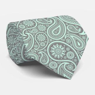 Mint-Green Vintage Paisley Custom Gray Background Neck Tie