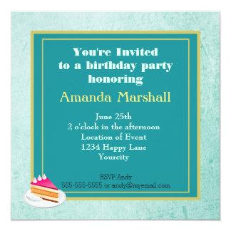 Mint Green Vintage texture birthday party Custom Invites