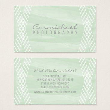 Professional Business Mint Green Watercolor Deco Business Card