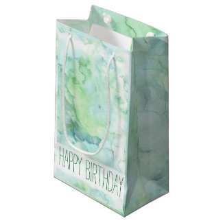 Mint Green Watercolor Happy Birthday Small Gift Bag