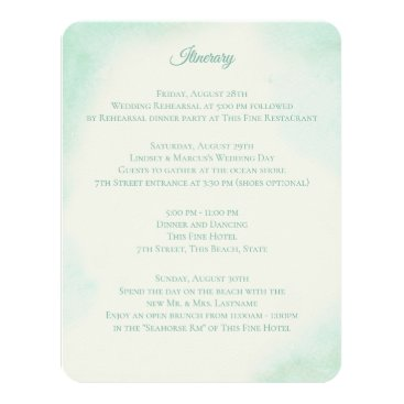 Beach Themed Mint Green Watercolor Wedding Information Card