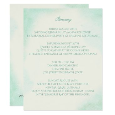 Beach Themed Mint Green Watercolor Wedding Intinerary Card