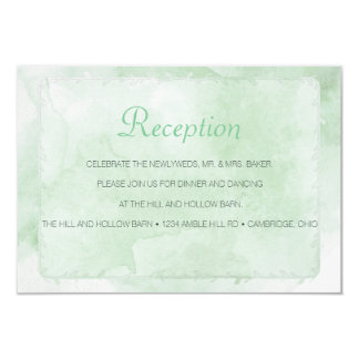 Mint Green Watercolored Reception Card