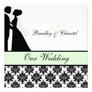 Mint Green Wedding Couple Wedding Invitation