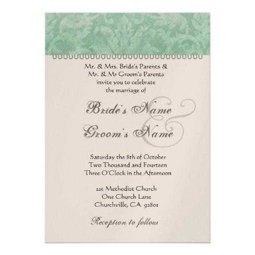 Mint Green Wedding Damask Champagne Metallic Paper Personalized Invitation
