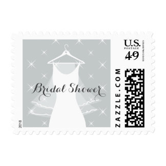 Mint green wedding dress bridal shower stamps