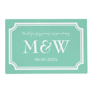 Mint green wedding placemats with stylish monogram