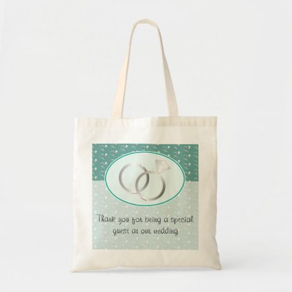 Mint Green Wedding Rings Pattern Budget Tote Bag