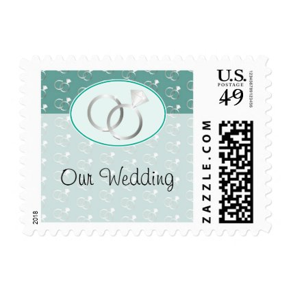Mint Green Wedding Rings Pattern Postage Stamp