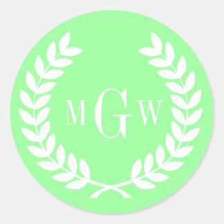 Mint Green Wheat Laurel Wreath Monogram Env Seals Round Sticker