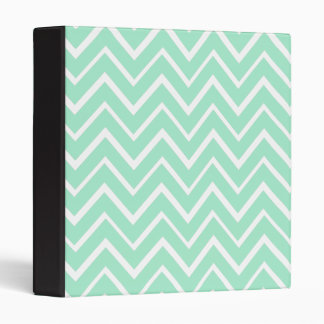 Mint green whimsical zigzag chevron pattern 3 ring binder