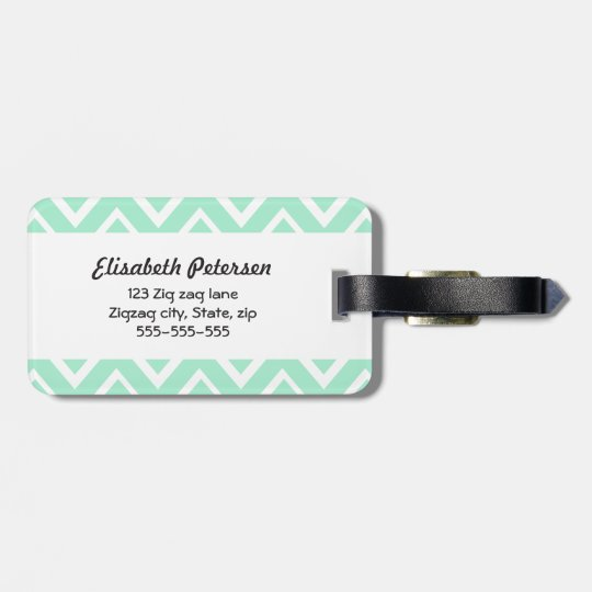 Mint green whimsical zigzag chevron pattern bag tag