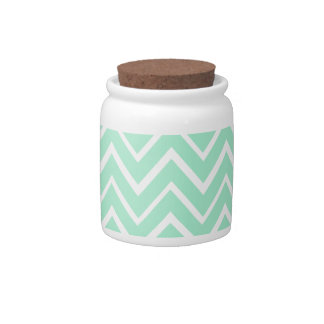 Mint green whimsical zigzag chevron pattern candy jar