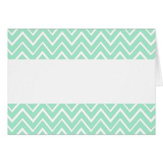 Mint green whimsical zigzag chevron pattern card
