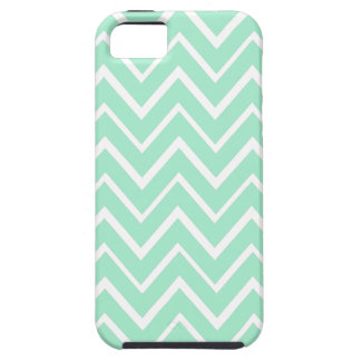 Mint green whimsical zigzag chevron pattern iPhone 5 cases