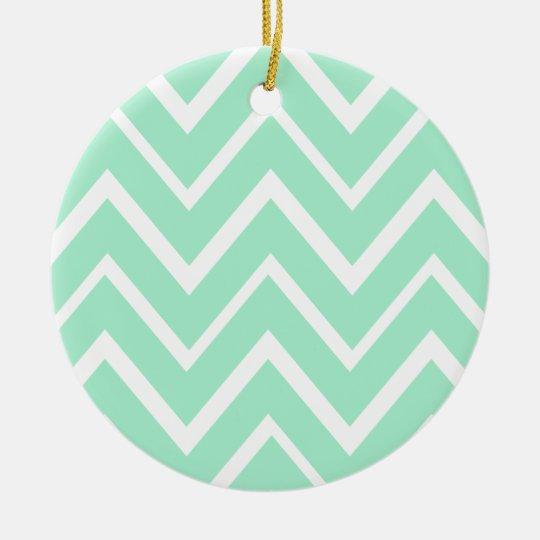 Mint green whimsical zigzag chevron pattern ceramic ornament
