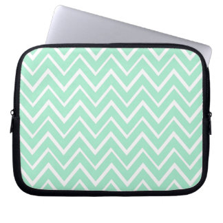 Mint green whimsical zigzag chevron pattern computer sleeve
