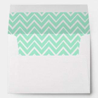 Mint green whimsical zigzag chevron pattern envelope