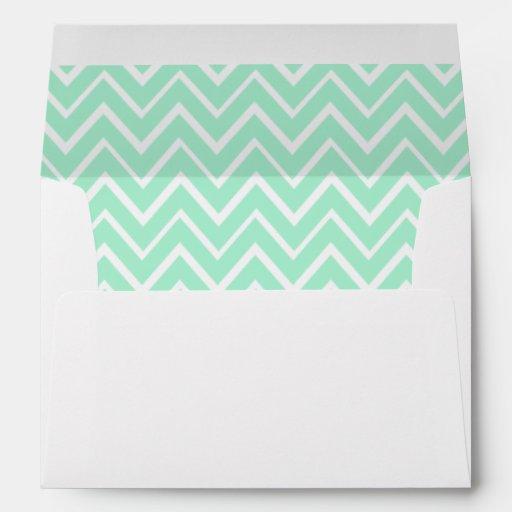 Mint green whimsical zigzag chevron pattern envelopes