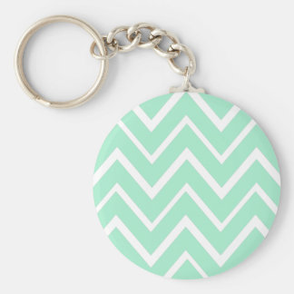 Mint green whimsical zigzag chevron pattern keychain