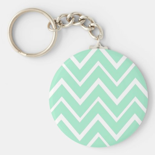 Mint green whimsical zigzag chevron pattern keychains