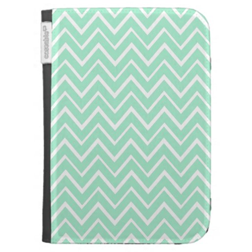 Mint green whimsical zigzag chevron pattern kindle 3 cases